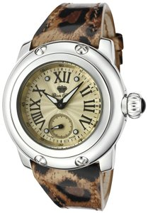 Glam Rock Palm Beach Leopard Champagne Textured Dial Leather Watch GRD40033