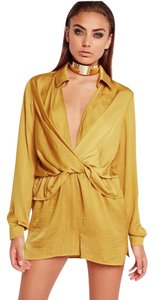 Missguided Plunge Satin Longsleeve Polyester Dress