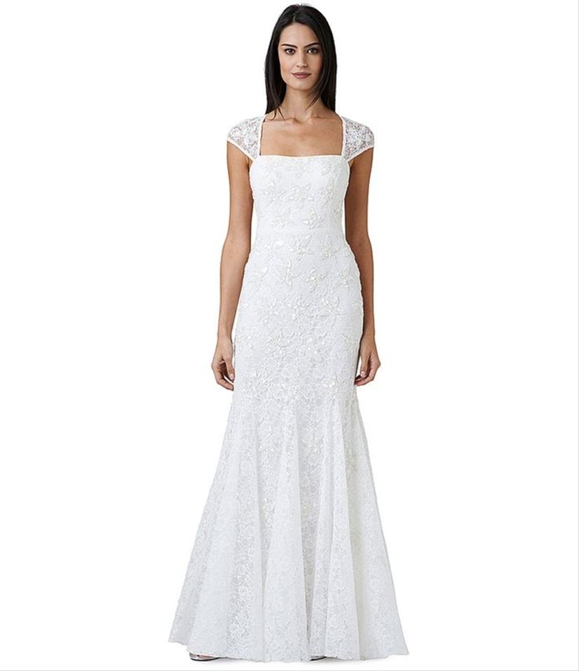 Adrianna papell ivory beaded lace cap sleeve trumpet for Wedding dresses for size 16
