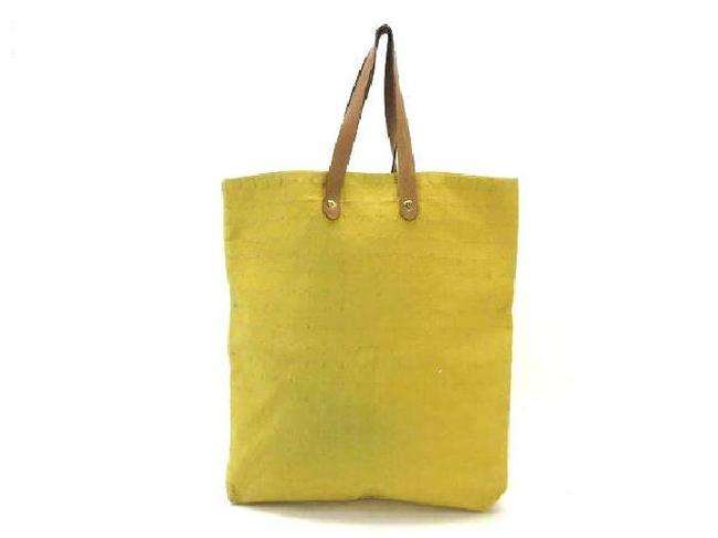 Item - Ahmedabad Quilted 215590 Yellow X Beige Canvas Tote