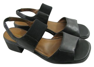 Naturalizer 9 M B Heels Chunky Open Rubber Sole Stretch black Sandals
