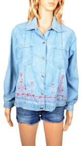 D.D. Designs Denim Blouse Floral Longsleeve Button Down Shirt Light Blue