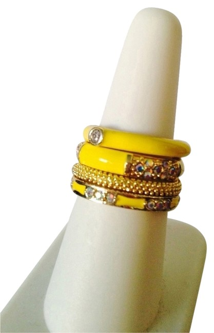 Item - Yellow/Gold Enamel/Crystal Stackable Band Rings Size 7