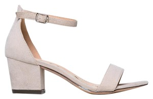 J. Adams Ankle Strap Heel Open Toe Suede Nude Sandals