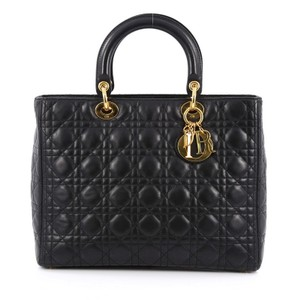 Dior Christiandior Lambskin Tote in Black
