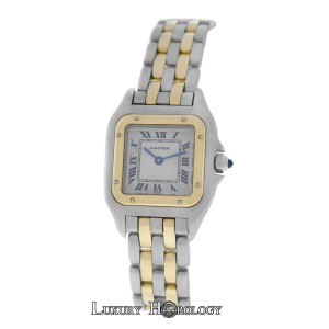 Cartier Ladies Cartier Panthere Two Row Stainless Steel 18K Gold 22mm Quartz