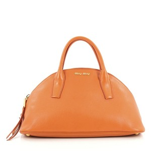 Miu Miu Leather Satchel in Orange