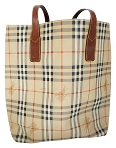 Burberry Nova Check Large Oversized Travel Tote in Tan