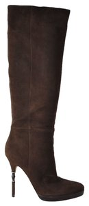 Gucci Suede Knee High Brown Boots