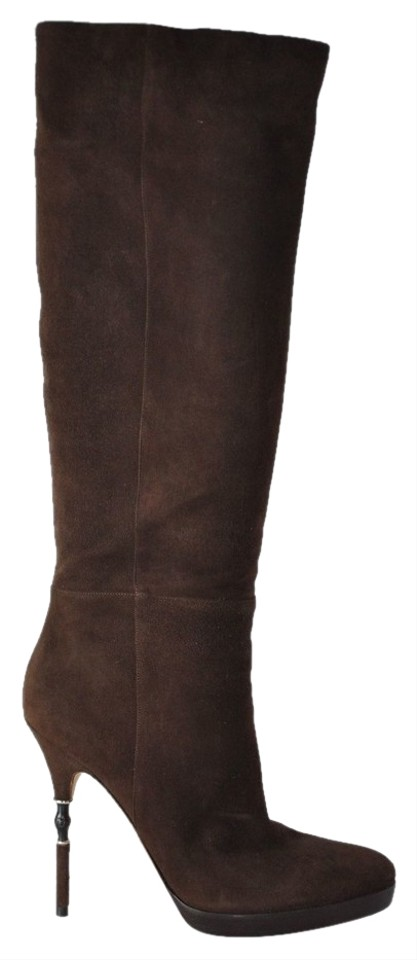 e1e67f158 Gucci Brown Suede Knee High Platform Bamboo Heels Boots/Booties Size ...