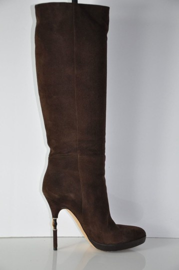 Gucci Suede Knee High Platform Bamboo Heels Brown Boots