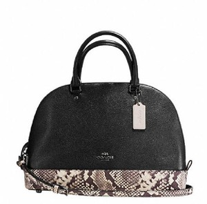 Coach Cora Domed Border Studed 37238 Satchel in SILVER/black