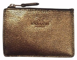 Coach Nwt Coach Gold Metallic Leather Cash Coin Purse Key Pouch Wallet Bag