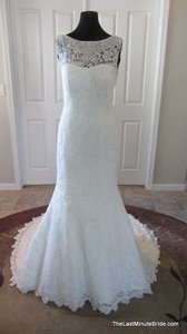 Allure Bridals Ivory / Silver Lace C302 Feminine Wedding Dress Size 12 (L)