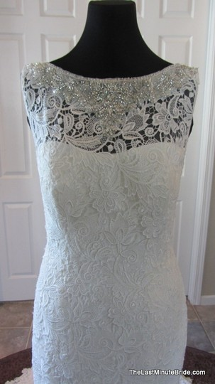 Allure Bridals Ivory / Silver Lace C302 Feminine Wedding Dress Size 12 (L) Image 2