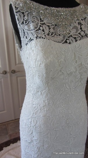 Allure Bridals Ivory / Silver Lace C302 Feminine Wedding Dress Size 12 (L) Image 3