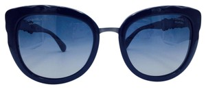 Chanel Distant Blue on Silver Blooming Bijou Cat Eye Polarized Sunglasses 535