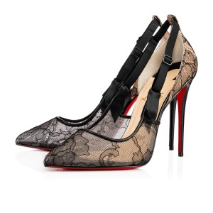 Christian Louboutin Hot Jeanbi 100 Lace Red Sole Louboutin 100 Black Pumps