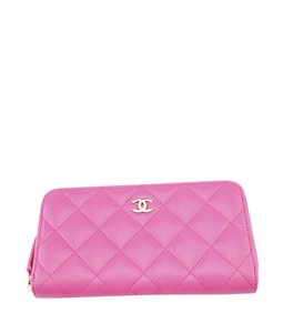 Chanel Chanel Pink Quilted Leather Zip-Around Wallet (118997)