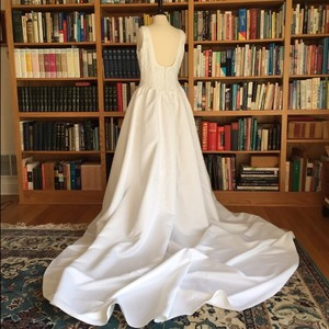 Alfred Angelo White Poly Satin Traditional Wedding Dress Size 10 (M)