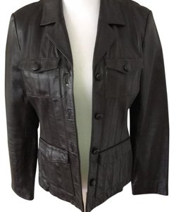 INC International Concepts dark brown Leather Jacket