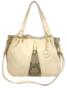 Michael Kors Mk Newman Mewman Mk White Python Convertible Tote in white taupe