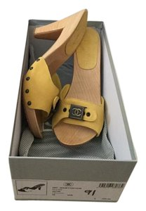 Chanel New In Box Suede Yellow Yellow/Mustard Mules