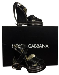 Dolce&Gabbana Phyton Leather Luxurious Dark Brown Wedges