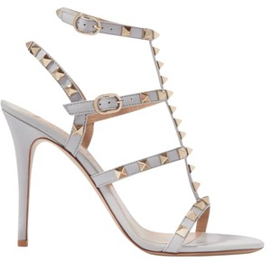 Valentino Rockstud Heel Rockstud Caged Sold Out T Strap Gray Sandals
