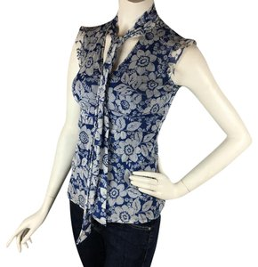 New York & Company Top Blue & white