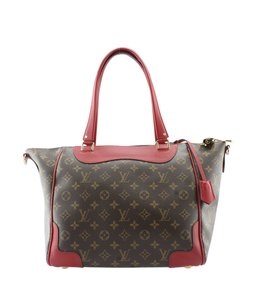 Louis Vuitton Red & Brown Monogram Tote in Red,Brown