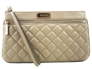 Michael Kors Taupe Beige Gold Quilted Wristlet in Dark Taupe