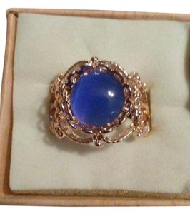 Other Size 8 Rose Gold Ring With Simulated Blue Opal