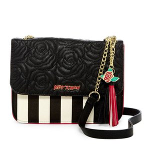 Betsey Johnson Front Flap Snap Closure Black/red Cross Body Bag
