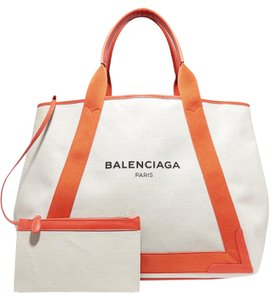 Balenciaga Cabas Navy Cabas M Shopping Tote in Orange