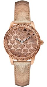 Guess W0549L1 Women's Rose Gold Leather Bracelet With Rose Gold Dial Watch