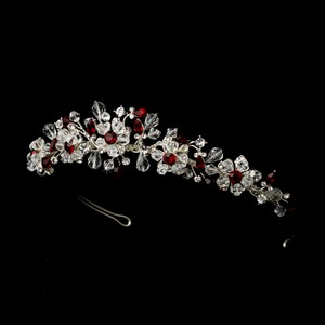 Mya Red Crystal & Rhinestone Floral Wedding Bridal Quinceanera Sweet 16 Prom Tiara