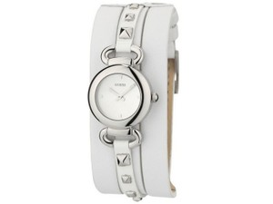 Guess W0160L1 Women's White Leather Bracelet With Silver Analog Dial watch