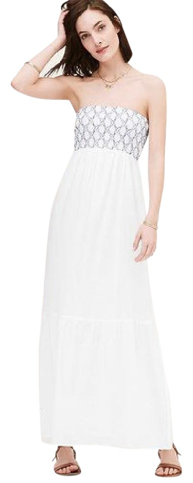 77837afd672 White Light Blue Embroidered Maxi Dress by Ann Taylor LOFT Maxi Summer  Image 0