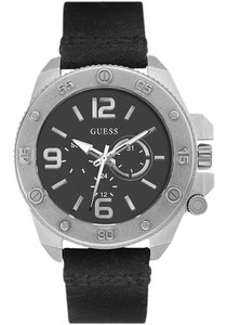 Guess W0659G1 Men's Black Leather Bracelet With Black Analog Dial Watch