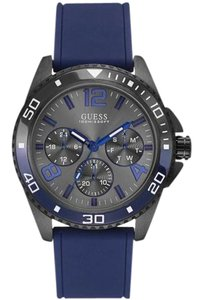 Guess W0593G2 Montre Men's Blue Silicone Bracelet With Black Dial Watch