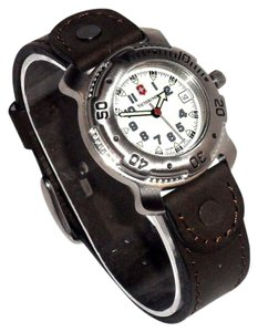Victorinox VICTORINOX SWISS ARMY WOMEN'S $250 SILVER SWISS WATCH, BROWN LEATHER S