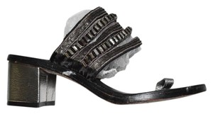 Beverly Feldman The City Embellished Day To Night black metallic silver sequin sandals Mules