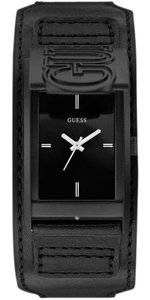 Guess W0358G1 Montre Men's Black Leather Bracelet With Black Dial Watch