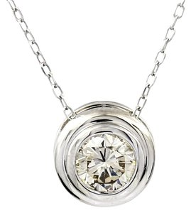 Other Diamond Necklace in 14k White Gold Solitaire Bezel Set .79ct Brilliant