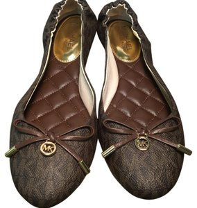 Michael Kors Faux Leather Signature Logo BROWN Flats