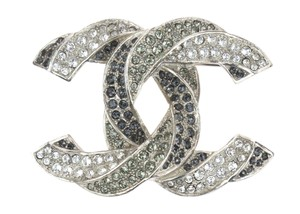 Chanel Chanel 16C Silver Twisted Dragonette Crystal CC Logo Brooch