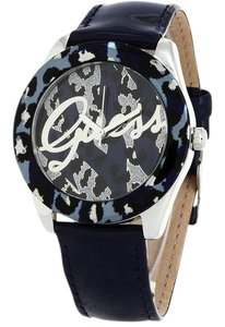 Guess W0455L1 Women's Blue Leather Bracelet With Blue Pattern Dial Watch