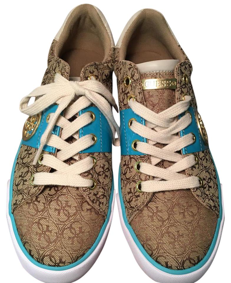 Guess Sneakers Tan Gold Turquoise Marbela Sneakers Guess 31beb3