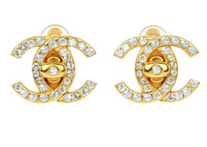 Chanel Chanel Vintage Gold CC Logo Crystals Earrings
